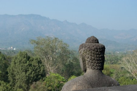 Buddha looking out.