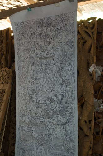 A very complicated carving pattern.