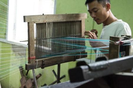 Silk being spooled.