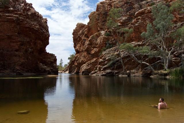 Taking a dip in Ellery Big Hole.