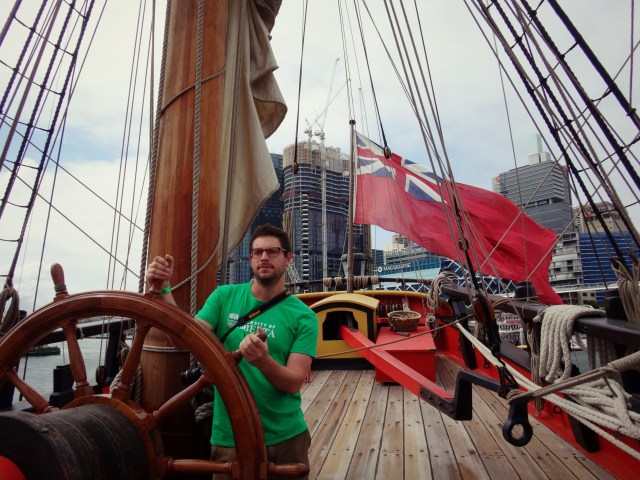 Chris on the HMS Endeavour.