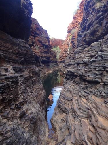 Taking a dip in Joffre Gorge.
