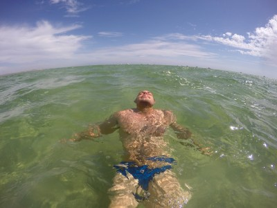 Being super floaty in the salty water.