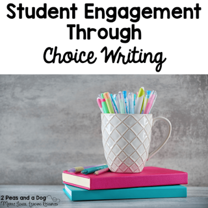 Provide choice on English Language Arts writing assignments to increase student engagement and work completion from the 2 Peas and a Dog blog.