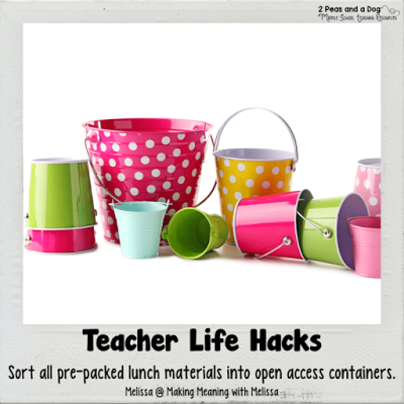 Teacher Life Hack - Teachers get the whole family involved in lunch prep by using open containers to store pre-packaged lunch materials.