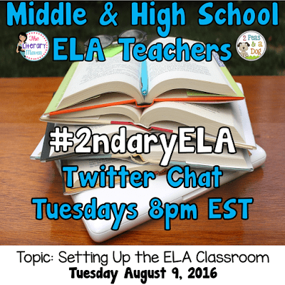 Join secondary English Language Arts teachers Tuesday evenings at 8 pm EST on Twitter. This week's chat will focus on setting up the ELA classroom.
