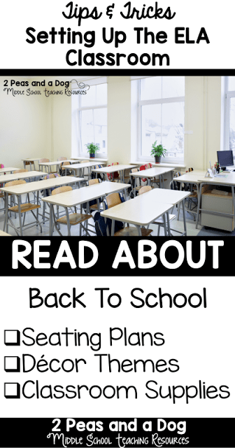 Middle and high school classroom organization and set up ideas. Read about seating arrangements, decor themes, and classroom storage options in the English Language Arts Classroom from the 2 Peas and a Dog blog.