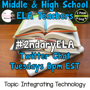 #2ndaryELA Twitter Chat on Tuesday 8/15 Topic: Integrating Technology into the ELA Classroom