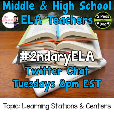 Join secondary English Language Arts teachers Tuesday evenings at 8 pm EST on Twitter. This week's chat will be about learning stations and centers.