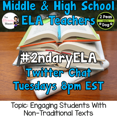 Join secondary English Language Arts teachers Tuesday evenings at 8 pm EST on Twitter. This week's chat will be about engaging students with non-traditional texts.