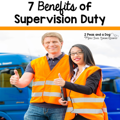 Teachers are usually required to complete additional supervision duties above their time in the classroom. Read about the seven greatest benefits of supervision duty - a teacher humour blog post from the 2 Peas and a Dog blog.