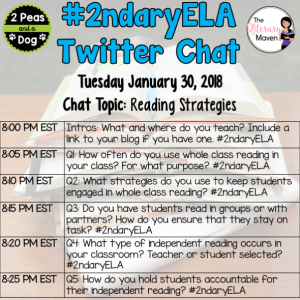 #2ndaryELA Twitter Chat on Tuesday 1/30 Topic: Reading Strategies