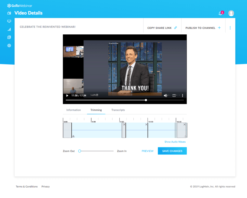 GoToWebinar Review: video editor