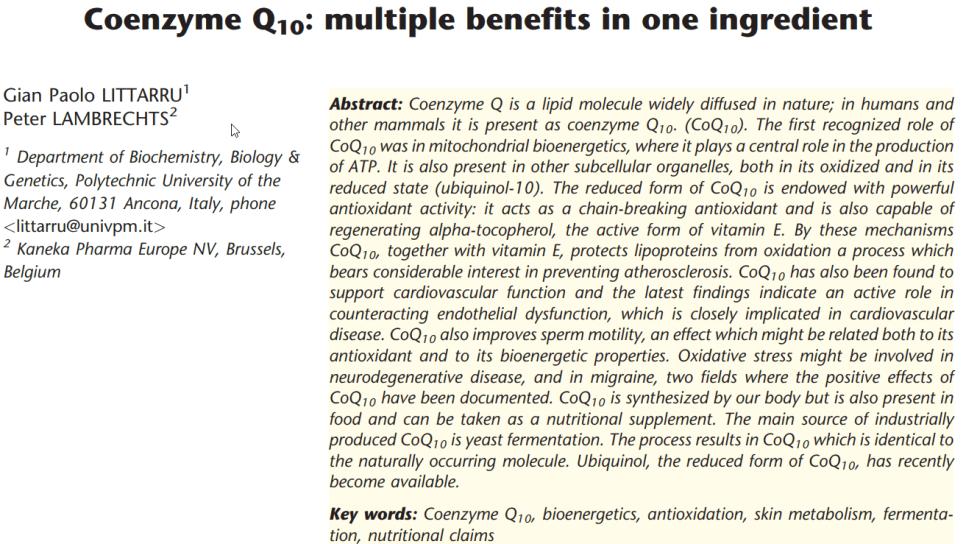 Q10 studies onderbouwen Q10 werking van cellulaire energie en antioxidant bescherming