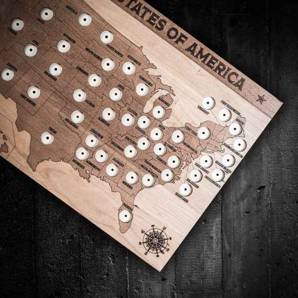 State Wooden Quarter Map - Coin In Wood