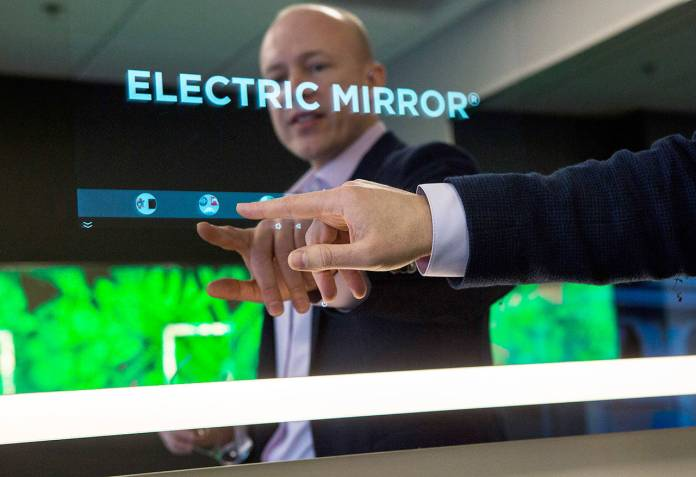 The home version of Electric Mirror's smart mirror made a splash at the Consumer Electronics Show in Last Vegas. (Olivia Vanni / The Herald)