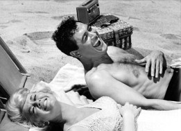 Doris Day and Rock Hudson Laughing at Beach during the Filming of Lover Come Back