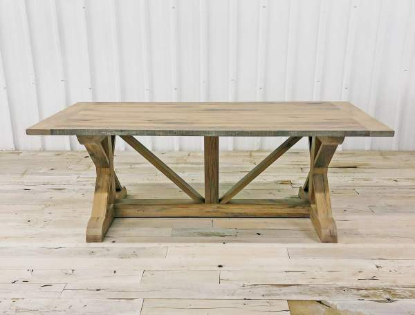 Custom Wood Table - Lamon Luther Porter Dining Table with reclaimed barnwood and custom weathered rustic