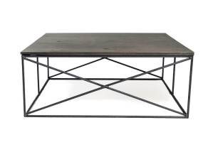wood coffee table with metal frame