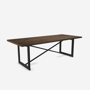 wood table with x base