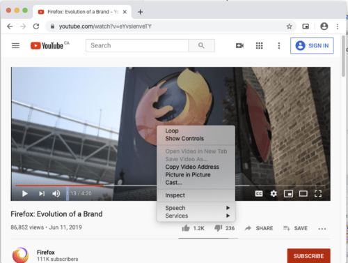 "The Chrome web browser playing a video, with the context menu for the video element hovering over top of it. ""Picture in Picture"" is one of the menu items."