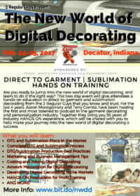The New World of Digital Decorating Workshop @ Mind's Eye Graphics | Decatur | Indiana | United States
