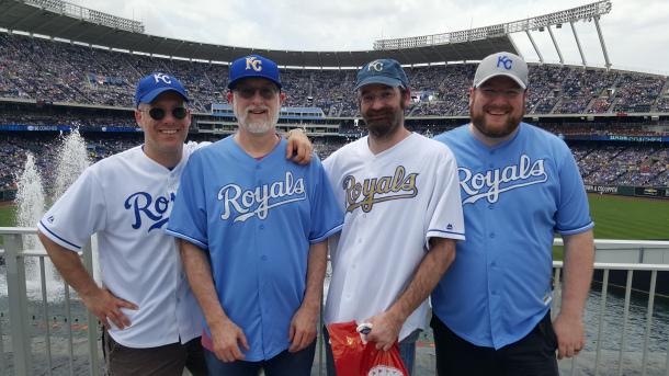 Mike, left, me, Joe and Tom at Kaufmann Stadium in June.