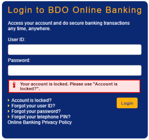 BDO-Online-Account-Locked