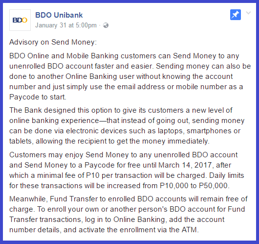 BDO Fund Transfer