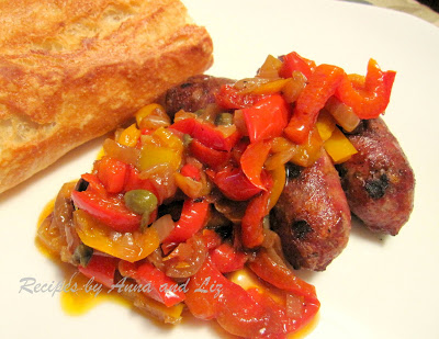 Sweet Sausages and Peppers by 2sistersrecipes.com