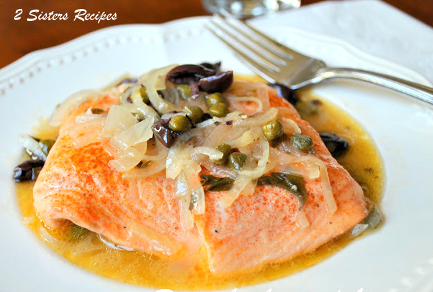Salmon Piccata with Lemon and Wine Sauce by 2sistersrecipes.com