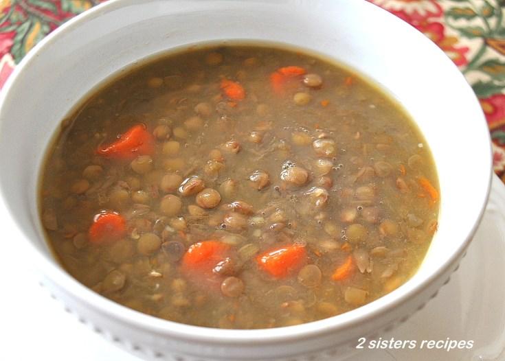 Low Fat Lentil Soupswith Veggies by 2sistersrecipes.com