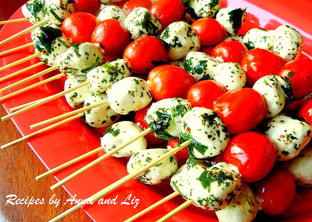 Easy Mozzarella and Tomato Kabobs by 2sistersrecipes.com