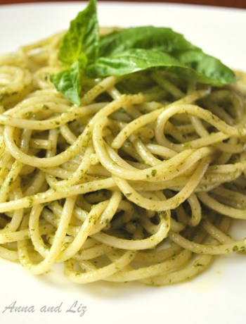 Spaghetti with Basil Pesto Sauce by 2sistersrecipes.com