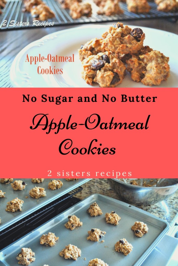 Apple-Oatmeal Cookies No Sugar and No Butter by 2sistersecipes.com