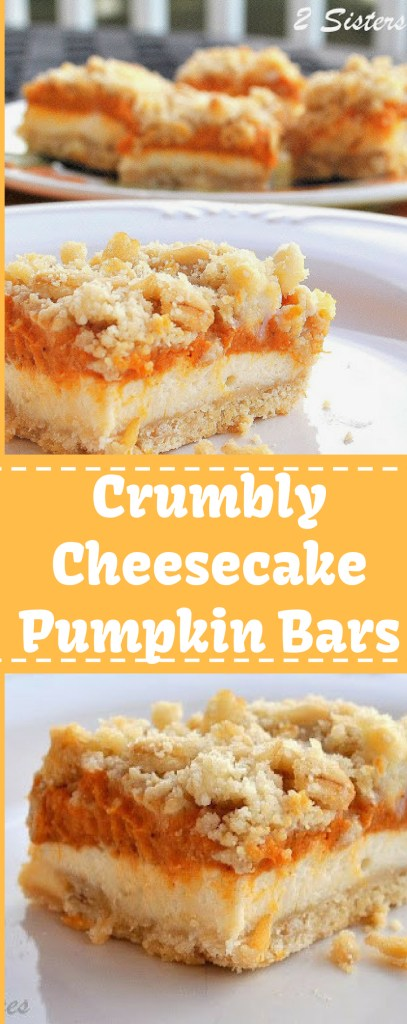 Crumbly Cheesecake Pumpkin Bars by 2sistersrecipes.com