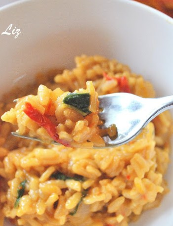 Risotto with Sundried Tomatoes, Basil and Marsala Wine by 2sistersrecipes.com