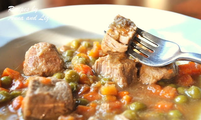 EASY Veal Stew with Wine, Peas and Carrots