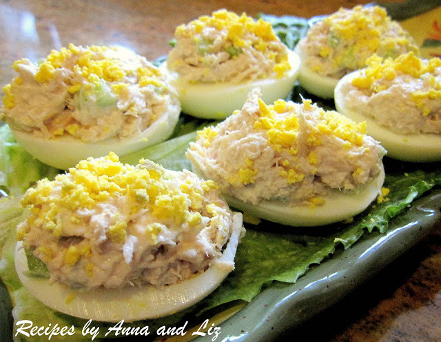 Tuna-Stuffed Deviled Eggs by 2sistersrecipes.com