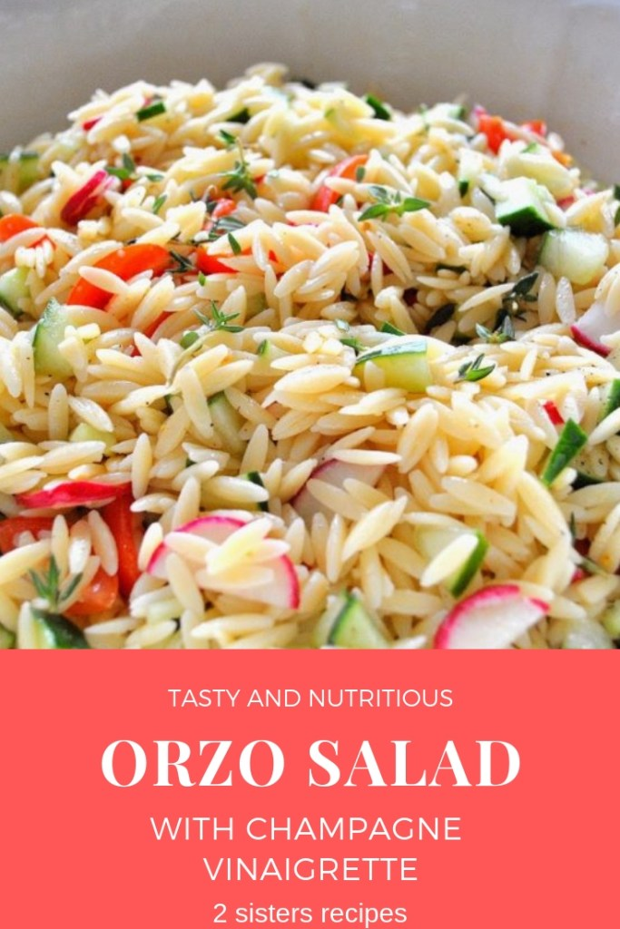 Orzo Salad with Champagne Vinaigrette by 2sistersrecipes.com