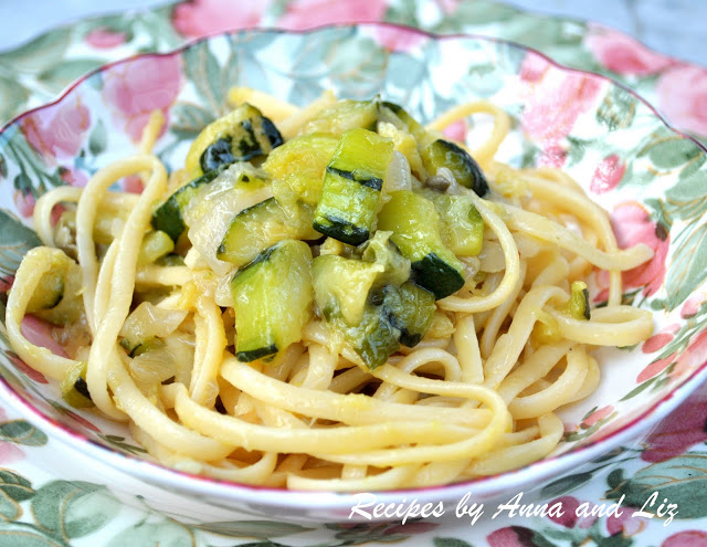 Linguine Pasta with Zucchini, Onions and Capers by 2sistersrecipes.com