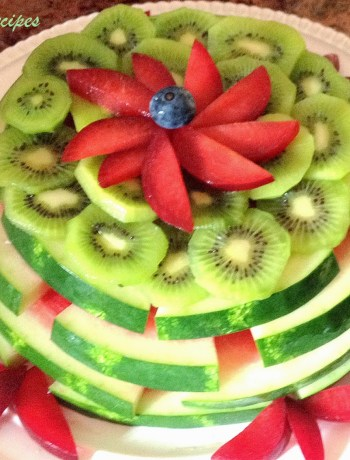 Watermelon, Kiwi and Plum Cake by 2sistersrecipes.com