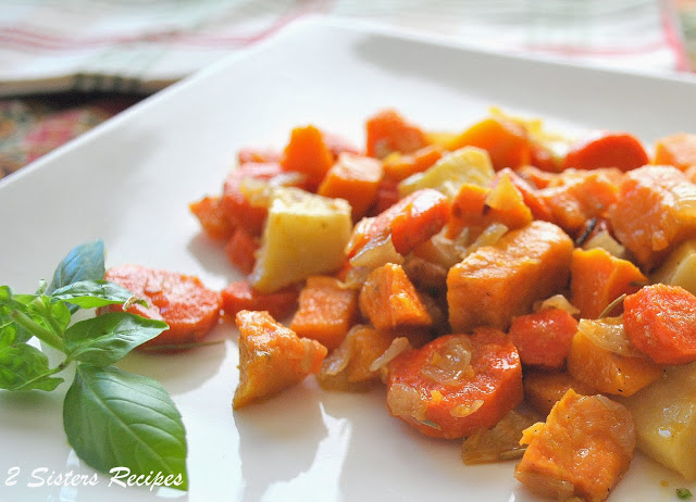 Oven-Roasted Sweet Potatoes, Butternut Squash, Carrots with Olive Oil and Pancetta