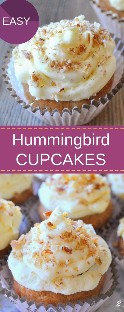Hummingbird Cupcakes by 2sistersrecipes.com