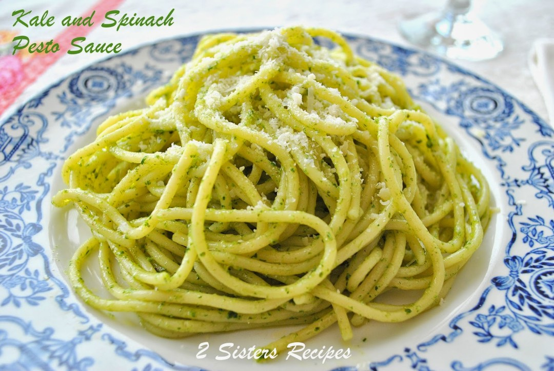 Easy Kale and Spinach Pesto Sauce by 2sistersrecipes.com