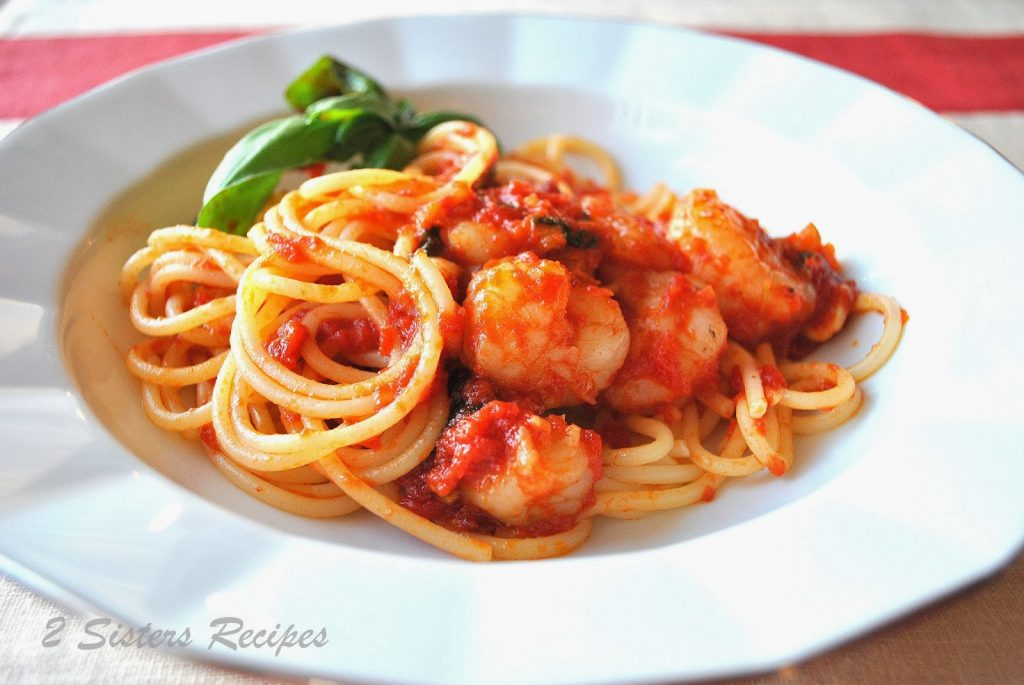 Spaghtetti with Shrimp Marinara by 2sistersrecipes.com
