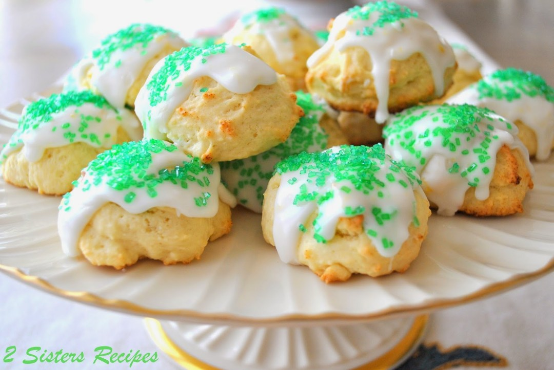 Italian Lemon Cookies for St. Patrick's Day by 2sistersrecipes.com