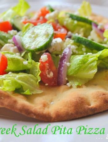 Greek Salad Pita Pizza by 2sistersrecipes.com