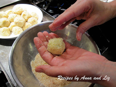 Rolling rice balls in the palm of my hand by 2sistersrecipes.com