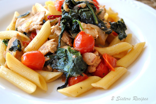 Penne Tossed with Sauteed Chicken, Kale and Cherry Tomatoes